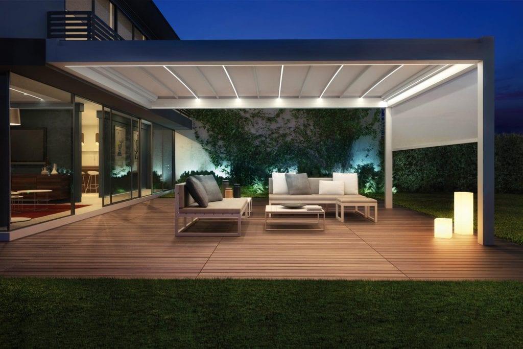 Pergola en aluminium pour jardin Nomo avec PVC couverture