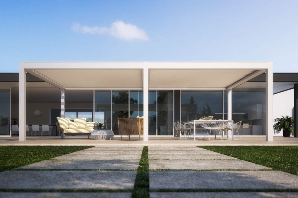 Pergola en aluminium pour jardin Vision avec lames orientable