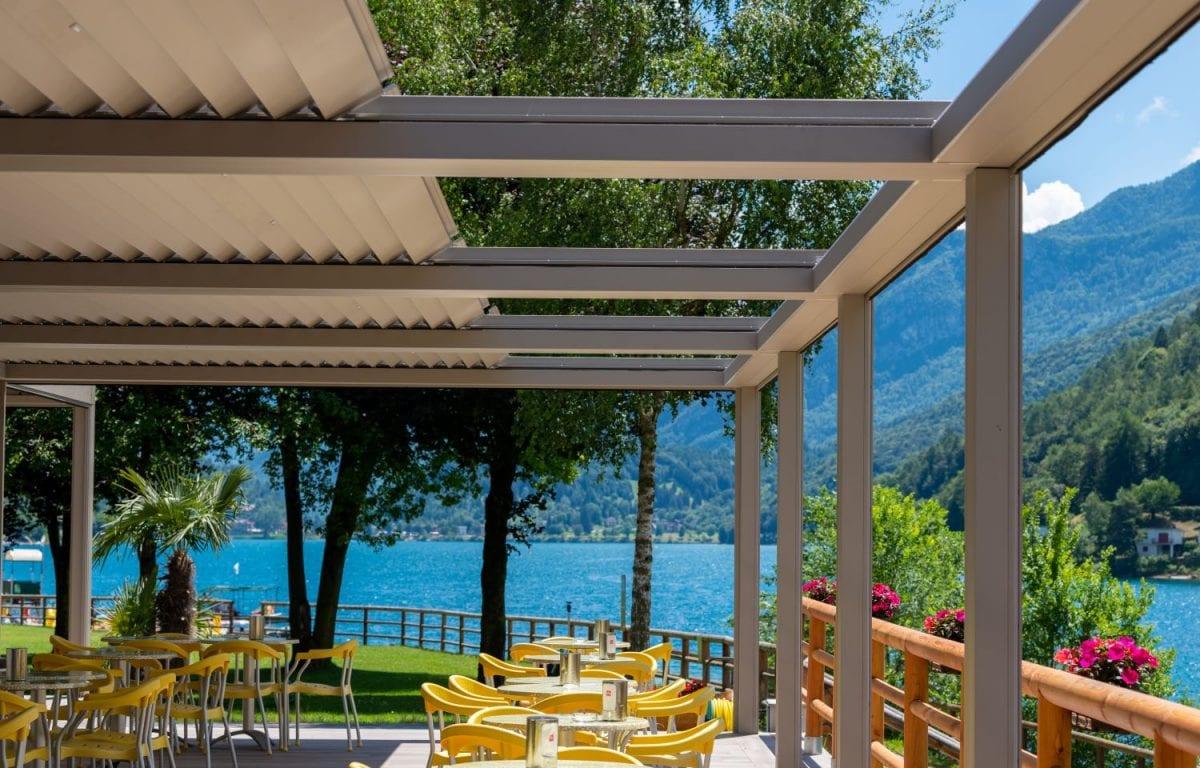 Pratic Bioclimatic Pergolas at Green Ice Restaurant at Ledro Lake