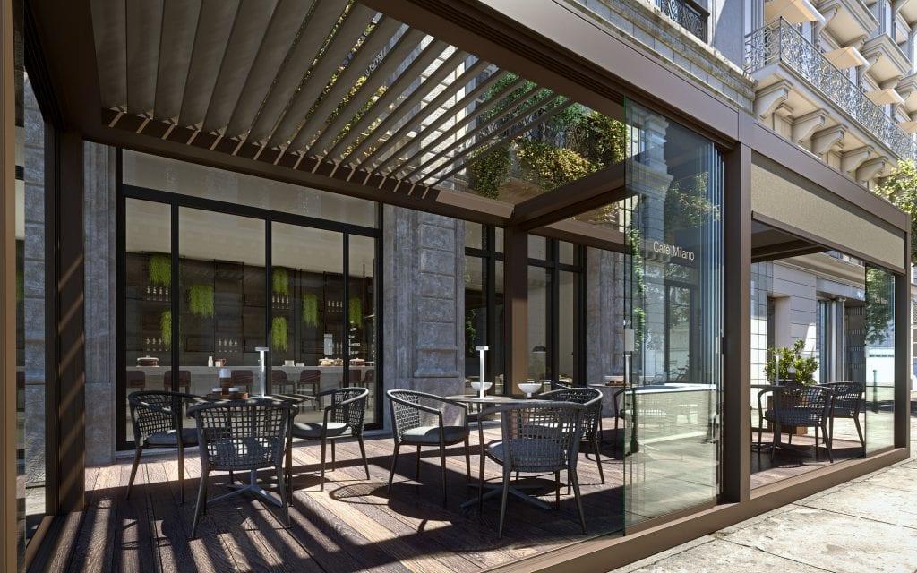 Pergola bioclimatica Brera a copertura dell'area esterna di un caffè