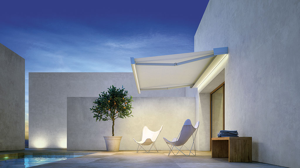 T-Hide, retractable awning with Led lighting